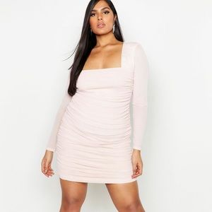 Plus Square Neck Ruched Mesh Bodycon Dress